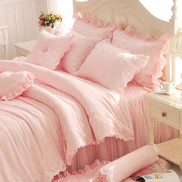 Wholesale Chinese Bedspread Queen - Wholesale- Diamond Lace Princess Bedding Sets Luxury Pink Ruffles Bed Skirt Solid Color Duvet Cover Bedspread Bedclothes Bed Linen Cotton