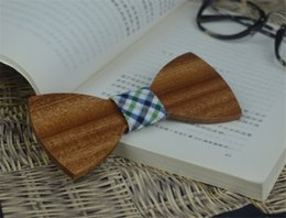 Wholesale Big Bowties - Wholesale Concert Wooden Bowties Ornament Sapele Fresh Check Cloth Bow Tie Big Bowknot Leisure Personality Accessory for Wedding Party Event