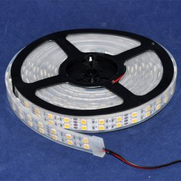 Wholesale Double Rows Waterproof Led Strip - Free Shipping with adaptor 5M DC12V 120leds m Sleeve Waterproof IP67 WHITE Double Row Two Line LED Flexible Strip Light SMD5050