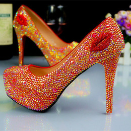 Wholesale Shoes For Pageants - Fashion High Heels Bridal Shoes Rhinestones Red Lady Shoes for Wedding Party Ball Prom Pageant Event