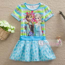 Wholesale Kids Tutu Skirt Tops - 2015 new baby girls frozen dress children summer outfits elsa anna girl lace tutu skirts with bow top quality stripe kids dresses