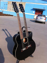 Wholesale Double Acoustic - New brand acoustic electric double neck guitar with cutway