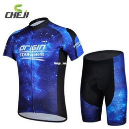 Wholesale Star Cycling Jersey - Free Shipping Cheji Quick Dry Night Star Blue Bike Jerseys Bib Shorts Sets for Men Bicycle Cycling Sports Tights Clothing Suit