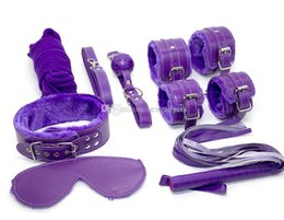 Wholesale Sex Mouth Cuffs - PU Purple Furry 7-in-1 bondage gear kit bdsm restraints mouth gag rope wrist ankle cuffs whip neck collar blindfold sex toys for Women