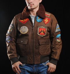 Wholesale Air Force Leather Flight Jacket - Fall-AVIREX genuine leather motorcycle jacket mens cow leather multi trademarks Air Force flight suit, Top Gun the same paragraph