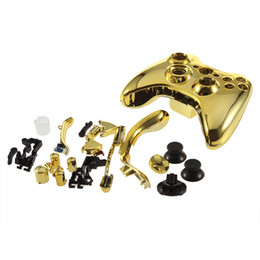 Wholesale Gold Shell Xbox - 1 Pc Polished Chrome Gold Replacement Shell For Xbox for 360 Wireless Controller With Chrome Gold Insert Brand New