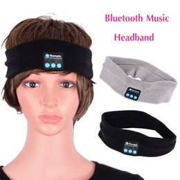 Wholesale Mp3 Player Without Earphone - Wireless Bluetooth Headband Headwrap Beanie Hat Cap Headwear Sport Headband Headphone Earphones MP3 Speaker Music Player