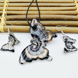 Wholesale Gold Butterfly Necklaces - 1set fashion black butterfly gold and silver lamp Murano glass necklace earrings set package gift box