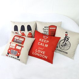 Wholesale British Throw - Wholesale-British Style Vintage Printed Pillow Cases Square British Soldiers Pattern For Living Room Decorative Throw Pillow Cases