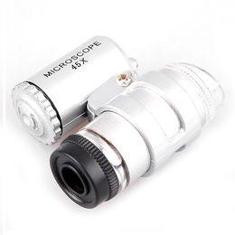 Wholesale 45x Magnifier - S5Q 45x Mini LED Bulb Pocket Jewelry Magnifier Microscope Loupe Watch Repair Set AAAAEN