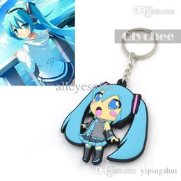 Wholesale Hatsune Miku Keychain - Wholesale-Hot Anime Cute Hatsune Miku Keychain Keyrings Pendant PVC