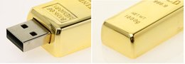 Wholesale Wholesale Gold Bar Usb Stick - For Sale 64GB Gold Bar USB Flash Drive 64GB disk memory stick Pendrives thumbdrives 60pcs