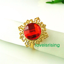 Wholesale Low Wholesale Price Gold Rings - Lowest Price-factory directly sell-50pcs Red Gold Plated Vintage Style Napkin Rings Wedding Bridal Shower Napkin holder-- Free Shipping