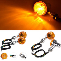 Wholesale Motorcycle Light Bulbs - 4pcs Motorcycle Turn Signals Light Bulb Indicators Chrome Turning Lights Bulb Universal for honda suzuki yamaha kawasaki ducati