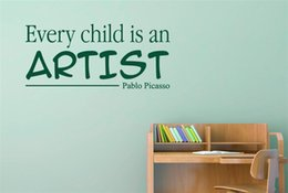 Wholesale Cartoons Artist - Every Child Is An Artist Pablo Picasso Vinyl Quotes Wall Stickers Art Decals for Kids Room Decor