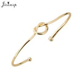 Wholesale Love Knot Bangle - Wholesale- Jisensp Fashion Simple Classic Copper Wire Knot Bangles Bracelet Love knot knot Open Metal Bangle Bracelet Love bracelet G004