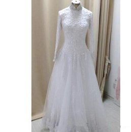 Wholesale Hijab Wedding Dresses Plus Size - Vestido De Noiva A-line Long Sleeve Muslim Hijab Wedding Dress Arabic High Collar Bridal Gown Beaded Lace Wedding Gown