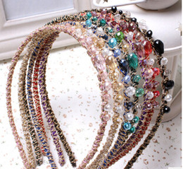Wholesale Hoop Wire - Hair accessories lovely crystal hoop multicolor gold wire pearl hair band headband accessories free shipping TY1231