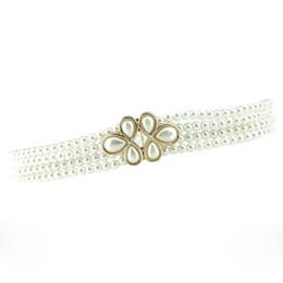 Wholesale Pearls Waist Belts - Elegant Beading Style Waistbands Elastic Stretch Pearls Flower Buckles Waist Belts Ladies Decorative Ceintures os840