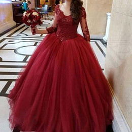 Wholesale Attractive Pictures - Attractive Burgundy Prom Dresses Ball Gown Prom Dress V Neck Illusion 3 4 Sleeves Beaded Lace Appliques Top Puffy Tulle Evening Party Gowns