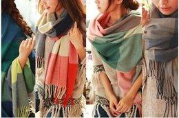 Wholesale Blue Blankets - Fashion 2017 Classic Women Check Blanket Scarves Plaid Wool Blend Shawls Winter Lattice scarf 10pcs lot