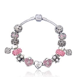 """Wholesale Chinese Pink Bracelet - Elegant Charm Bracelets with Asian Love Symbol Chinese Character """"Love"""" Silver Charms & Brilliant Pink Cubic Zirconia & Heart Dangles BL113"""
