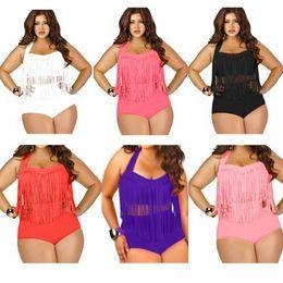 Wholesale Woman Fat Suits - Plus Size Fringe Swimwear With Tassel Sexy Plus Size Swimsuits Colors Bathing Suits Fat Women