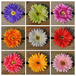 Wholesale Home Gerbera - 100pcs Gerbera flower heads 10cm 3.94 inches Daisy Artificial Sunflower for home party Wedding Silk decorative flowers