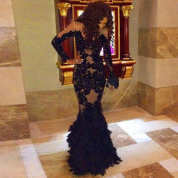 Wholesale Net Sheer Sleeve Dresses - 2016 High Neck Black Evening Dresses Mermaid Applique Beaded Crystal Zipper Back Long Sleeves Sexy Net Party Gowns evening prom dresses