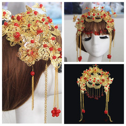 Wholesale Bridal Tiara Hair Crown Butterfly - Chinese Style Butterfly Head Tiaras & Hair Accessories Royal Princess Gold Vintage Wedding Head Wear Phoenix Coronet 2016 Bridal Crowns