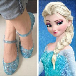 Wholesale Sweet Lolita Shoes - Free shipping children sandals in summer Frozen Snow Queen Elsa Anime cosplay shoes Fashion Lolita sweet Children's shoes wedge cheap blue s