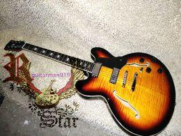 Wholesale Ebony Hollow - Wholesale and retail Vintage TS Burst 335 Custom Hollow Jazz Guitar Ebony fingerboard Free Shipping