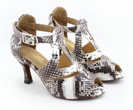 Wholesale Ballroom Dance Fashion - New Fashion Fashion Serpentine pattern PU women's Latin dance shoes Ballroom dancing shoes Salsa Tango Square dance shoes