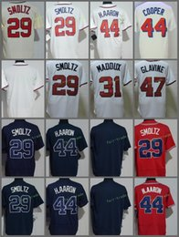 Wholesale Hank Aaron Baseball - Atlanta #29 John Smoltz 31 Greg Maddux 44 Hank Aaron 47 Tom Glavine Blank Throwback 1995 Patch Retro Red White Blue Stitched Jerseys