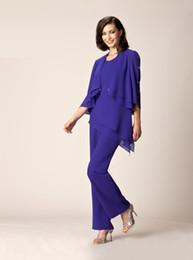 Wholesale Detailed Formal Dresses - 2018 New Purple Mother Of The Bride Pant Suits Summer Formal dresses Scoop Neck flutter sleeve Crystal details 125