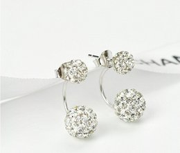 Wholesale Pair Crystal Stud Earrings - New Excellent Lovely Stud Earrings For Women 2016 Fashion jewelry 20 Pairs A Lot Crystal Double Sided Earings For Party Cheap Jewellery