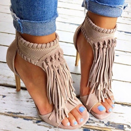 Wholesale Grey Twine - Summer Tan Tassel Twine Knot Suede Leather Open Toe Women Sandals Fringe Ankle-Wrap Back Zipper High Heels Gladiator Shoes Woman