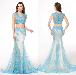 Wholesale Ladies French Dresses - Two Piece French Lace Evening Dresses High Quality Imported Formal Mermaid Appliques Trumpet Party Gowns Young Ladies Sexy Vestido De Festa