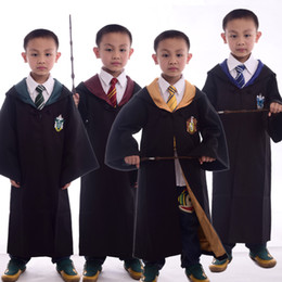 Wholesale Green Cape Costume - Kids Harry Potter Robe with Necktie Gryffindor Hufflepuff Slytherin Ravenclaw School Uniform Cloak Cape Boys Girls Halloween Clothes