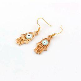Wholesale Wholesale Hamsa Earrings - Hot ! Earring , 20 Pair Zinc Alloy Light blue Enamel Evil Eye Hamsa hand EARRINGS Plated gold Fishhook Ear Wire 41.5 x 13.5mm