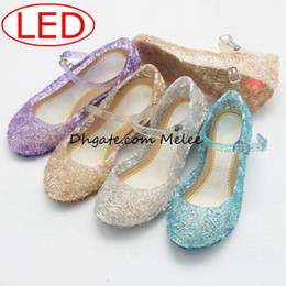 Wholesale Leather Sandals Hole - 4colors Led kids Sandals Shoes Light Girls Princess Shoes Blue Crystal Sandals Girls Cosplay Shoes Blue PVC Hole Snowflake Sandal kids