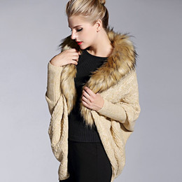 Wholesale poncho cape dress - Wholesale- Faux Fur Collar Knitted Cardigans Batwing Sleeve Sweaters 2016 Women Autumn Winter Loose Womens Capes and Ponchoes Sweater Dress