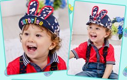 Wholesale Han Edition Rabbit - 2015 children hat qiu dong han edition bowknot rabbit turn along the baseball cap baby hats wholesale of the girls BH1254