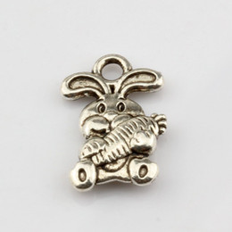 Wholesale Diy Charms Bunny - Hot ! 200pcs Antiqued Silver Alloy Cute bunny Charm Pendants 11x15mm DIY Jewelry