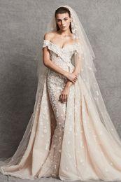 Wholesale Zuhair Murad Modest Gowns - Off The Shoulder Zuhair Murad Bohemian Wedding Dresses With Detachable Skirt Lace Wedding Gowns Applique Elegant Modest Beach Bridal Dress
