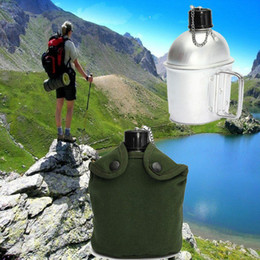 Wholesale water canteens - Outdoor Sport Military Aluminum Stainless Steel Water Bottle with Army Green Cloth Cover & Canteen Kettle Camping Picnic Travel Drinkware