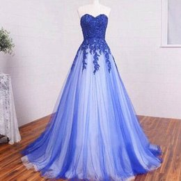 Wholesale Real Sample Prom Dresses - Real Sample Royal Blue Prom Dresses Two Tone Ivory Tulle A Line Sweetheart Neckline Cheap Lace Appliques Sleeveless Full Length Evening Gown