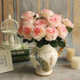 Wholesale Cheap Artificial Yellow Roses - Wholesale- Cheap 9 heads bouquet artificial silk decorative rose flower for wedding party decoration bouquet 6 colors