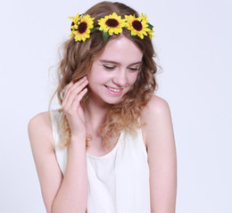 Wholesale Sunflower Headbands - New Women Wedding Floral Crown Sunflower Garlands Girl Hairband Tiara Festival Ornament Bohemian Style Beach Headbands for Wholesale