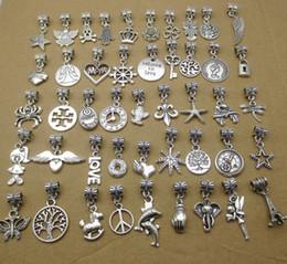 Charmes de l'espace en Ligne-50 sortes Mix Style Big Hole Loose space Perles breloques pendentifs BRICOLAGE Bracelet Bracelet femmes bijoux en gros livraison gratuite